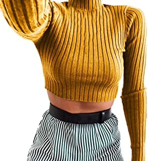 Sunhusing Women's Knit Pleated Turtleneck Short Crop Top Casual Long Sleeve Sweatshirt