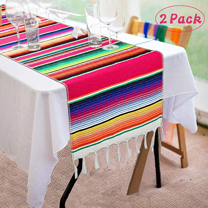 Angsen 2 Pack Mexican Table Runner 14 X 84 Inch Mexican Serape Table Runner For Mexican Party Wedding Decorations Fringe Cotton Table Runner