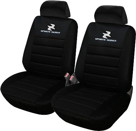 WOLTU AS7254-2 Set Coprisedili Anteriori Auto 2 Posti Seat Cover Protezioni Universali per Macchina Tessuto Poliestere Nero