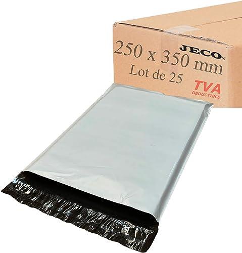JECO® - Lot de 25 - Enveloppes plastique d'expédition opaques 250x350 mm, pochettes d'expédition VAD 25x35 cm 50 micr...