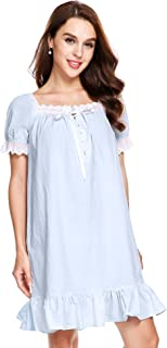 Womens Cotton Victorian Vintage Short Sleeve Martha Nightgown Sleepwear