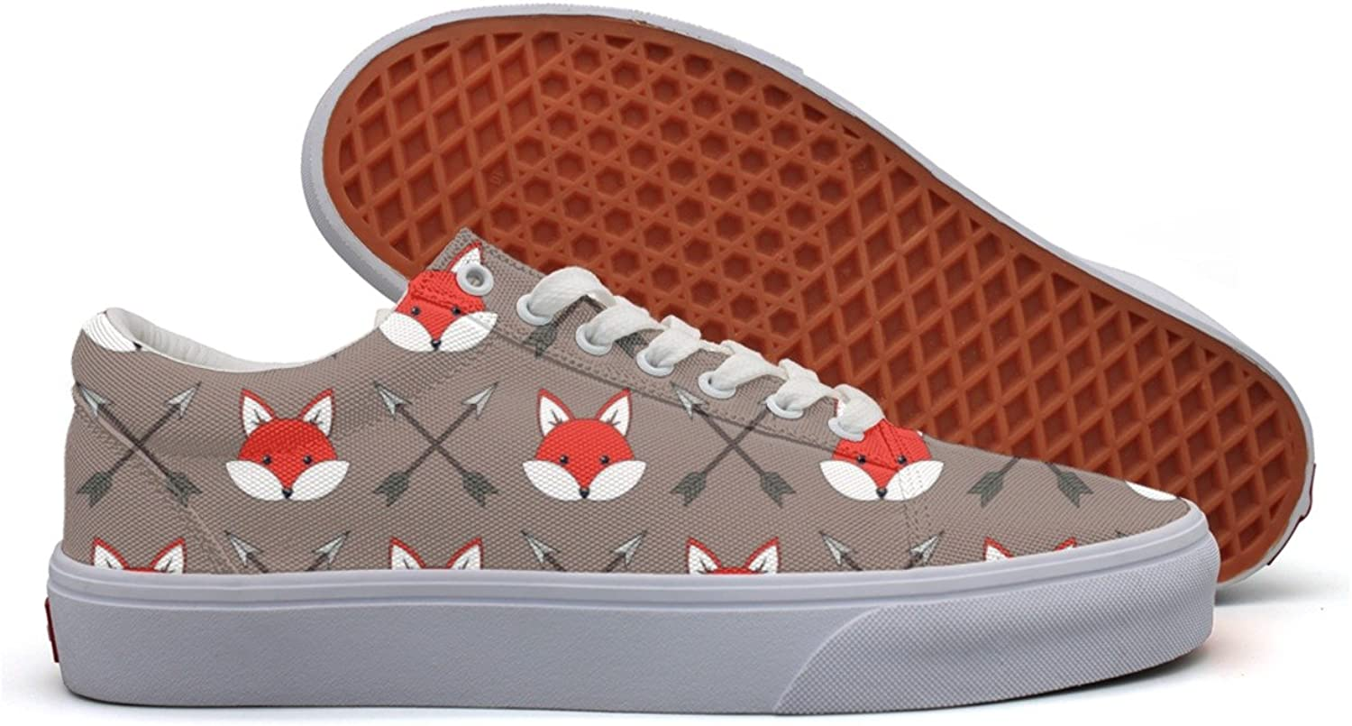 Cute Cartoon Foxes Womens Fashion Canvas Running shoes Low Top Cute Athletic Sneakers For Women