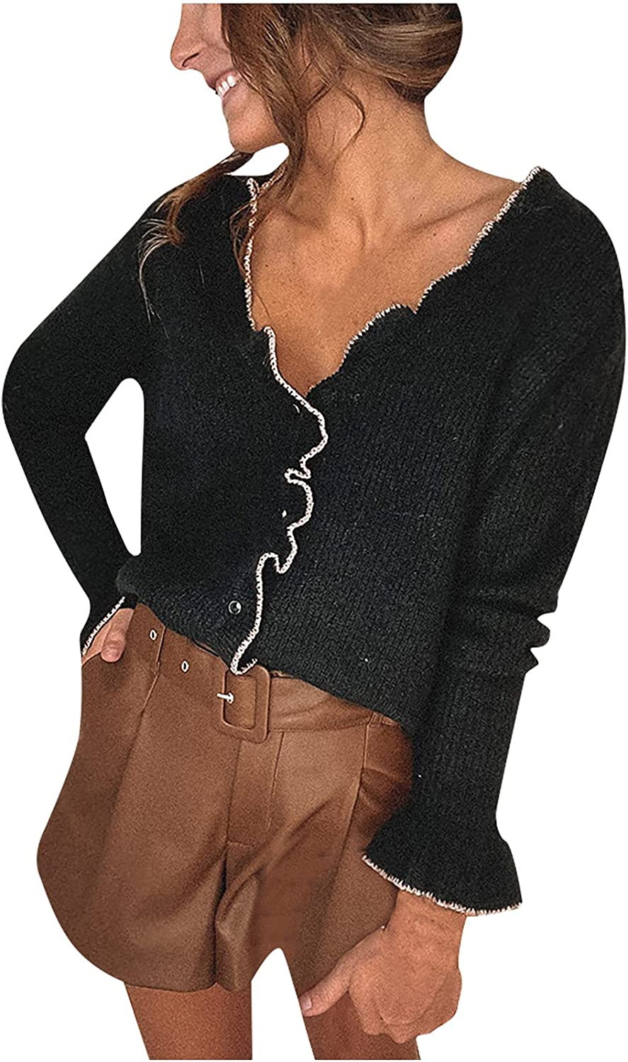 2021 Fashion Buttons Cardigan for Women's Casual Thin Blouse Long Sleeve V-Neck Solid Ladies Knitted Sweater Tops