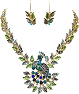 Rosemarie Collections Women's Peacock Necklace and Earrings Set