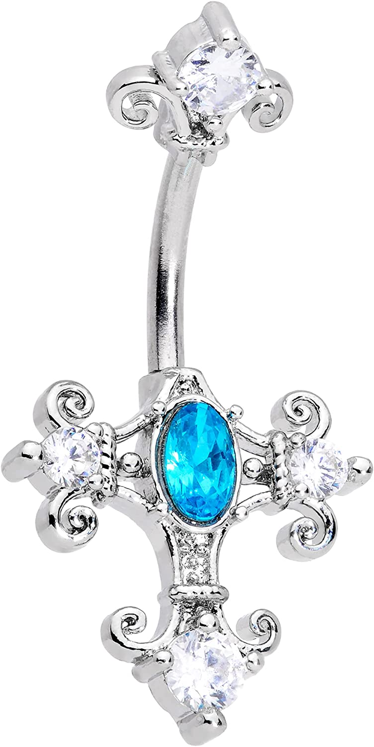 Body Candy Womens 14G 316L Steel Navel Ring Piercing Clear Blue Accent Renaisance Cross Belly Button Ring