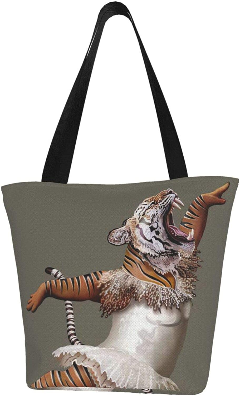 Funny Dancing Balletic Tiger Animal Themed Printed Women Canvas Handbag Zipper Shoulder Bag Work Booksbag Tote Purse Leisure Hobo Bag For Shopping
