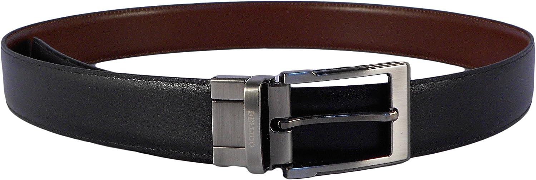 Cinturón hombre piel clásico reversible negro - cuero Miguel Bellido con hebilla plateada oscura