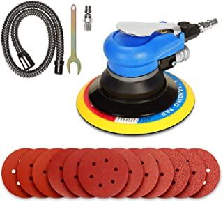ZFE 6'' Air Random Orbital Sander, Dual Action Pneumatic Sander with 12 Pcs Sanding Discs Pad (#80,#120,#240,#320), 6 Inch Air Sander & Polisher for Car and Metal
