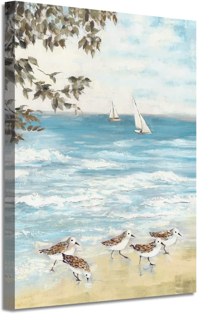Abstract List price Ocean Artwork Coastal Picture: Beach Birds Painting Sea Max 77% OFF