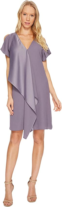 Adrianna Papell - Crepe Back Satin Ruffle Shift Dress