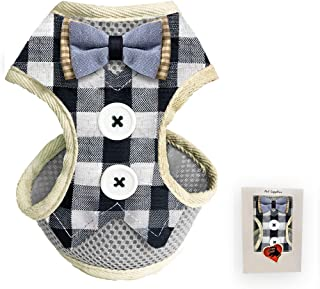 Bark Lover Small Puppy Harness with Bowtie, Adjustable Dog Mesh Tuxedo Harness Leash Set for Small Dog Kitten, Perfect for Party Wedding Holiday