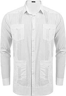 COOFANDY Men's Long Sleeve Guayabera Cuban Shirt Casual Button Down Cotton Linen Shirt