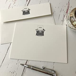 Packet of 20 notelets and envelopes Wagtail Designs Notelets with a Dachshund Illustration in a Lovely Black Box with Ribbon
