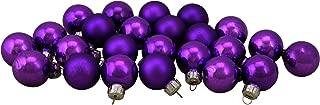 Northlight 24ct Shiny and Matte Purple Glass Ball Christmas Ornament Set 1