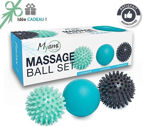 RELAX  Set unique de 3 balles de massage différentes - Réflexologie Acupression - Elimine les tensions et le stress I...