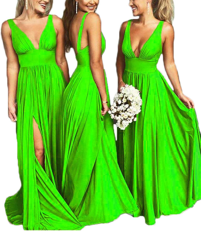 Alilith Z Sexy Deep V Neck Open Back Side Slit Prom Dresses Long Beach Garden