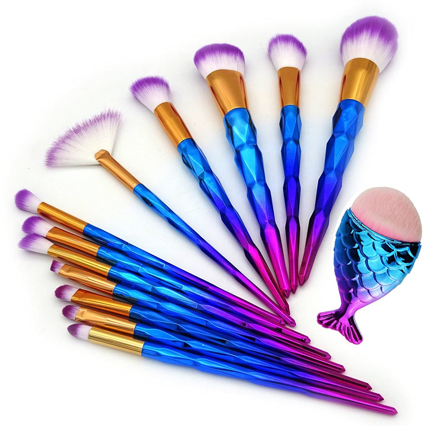 スライム性差別ルーム13Pcs Unicorn Diamond Makeup Brush Set Mermaid Foundation Powder Cosmetics Rainbow Eyeshadow Face Kabuki Make Up Brush Tools Kit