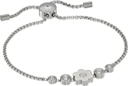 In Full Bloom Floral Charm and Crystal Accent Slider Bracelet