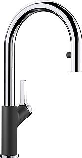BLANCO Carena-S Vario, Küchenarmatur - Einhebelmischer, mit verdeckter ausziehbarer Brause mit Umschalt-Funktion, Wasserhahn für die Küche, Silgranit-Look, anthrazit-Chrom, Hochdruck, 1 Stück, 521358