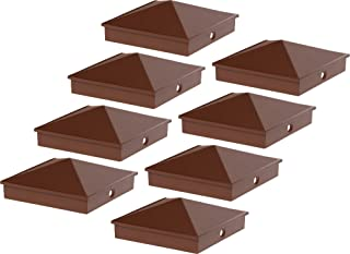 GreenLighting 4x4 Aluminum Pyramid Post Cap Cover for Nominal Wood Posts (Brown, 8 Pack)