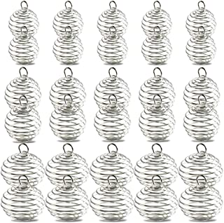 Bead Cages 30pcs, YGDZ 3 Sizes Silver Plated Spiral Pendant Crystal Bead Cages Holder for Necklace Making (15mm, 25mm, 30mm)