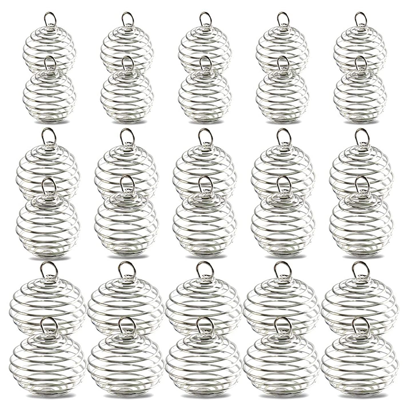 30pc Bead Cages, YGDZ 3 Sizes Spiral Silver Plated Bead Cages Pendants for Jewelry Making (15mm, 25mm, 30mm)