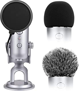 ChromLives 2pcs Microphone Furry Windscreen Mic Cover Foam for Blue Yeti + Microphone Pop Filter Dual Layer Mask Shield Fit Mic Blue Yeti and Yeti Pro Condenser (Combo 3Pack)