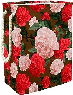 Vockgeng Fleurs Roses Rouges Accueil Organisation Panier de Rangement imperméable Pliable de Jouets de Jouets de Panier av...