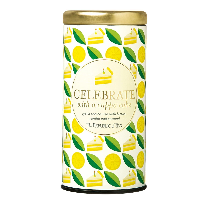 Amazon Com The Republic Of Tea Celebrate With A Cuppa Cake Tea 36 Tea Bags Gourmet Tea Vanilla Lemon Coconut Cake Tea Gift Tin Grocery Gourmet Food
