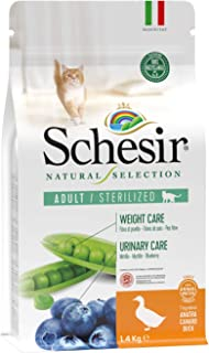 Schesir Natural Selection Dry Sterilized Cats Duck 1.4 kg