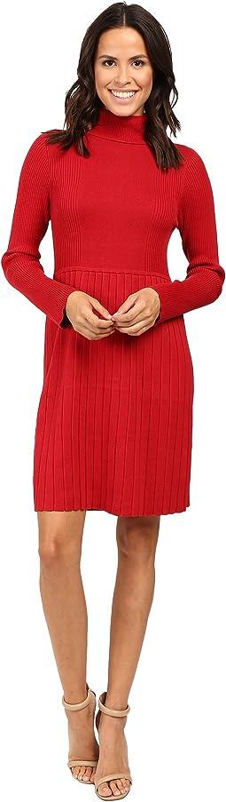Turtleneck Long Sleeve Solid Pleat Dress