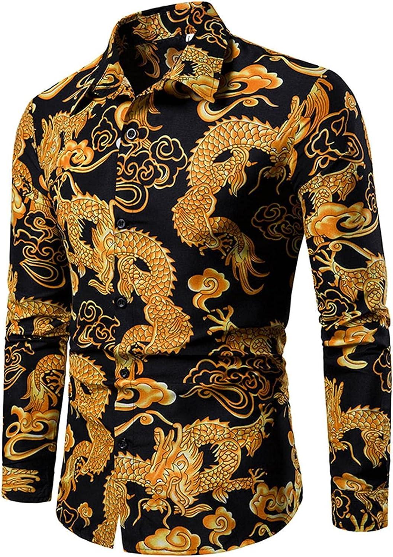 Men Long Dleeve Dress Shirt Button Down Tops Paisley Printed Slim Fit Casual Lapel Loose Work Shirt