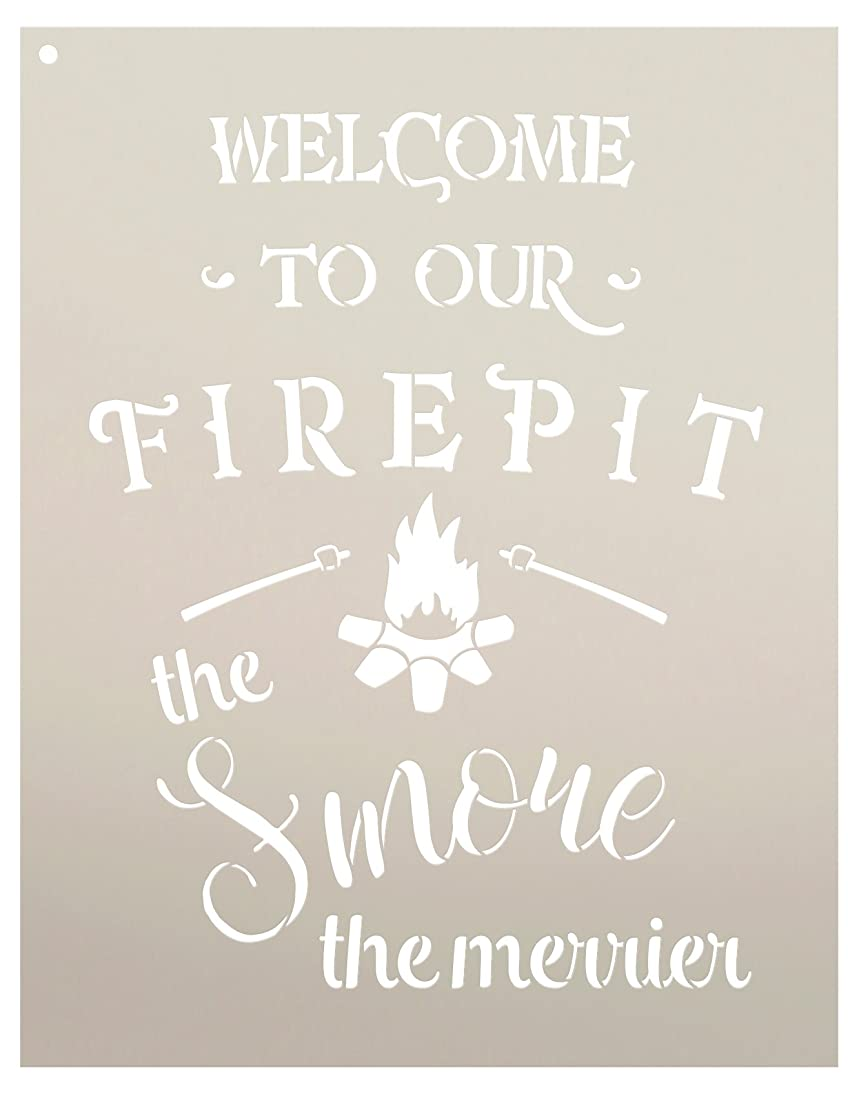 Welcome to Our Firepit Stencil - The Smore The Merrier by StudioR12 | Reusable Mylar Template | Use to Paint Wood Signs - Wall Art - Pallets - DIY Rustic Home Decor - Select Size (11