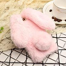 Huawei Y7/Nova Lite+/Honor7 Plus Art Case, Handmade Fluffy Villi Rabbit Baby Wool Ball Tail Winter Warm Soft Funda, TAITOU Beautiful Special Big Ear Design Light Slim Case For Huawei Huawei Y7 Pink