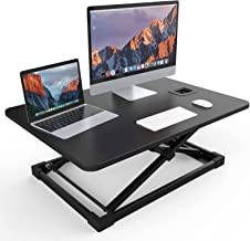 NATRKE Height Adjustable Standing Desk Converter Sit to Stand up Desk Riser, 25.5 Inches Wide Ergonomic Workstation,Black