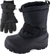 Northside Frosty Winter Snow Boots for Boys/Girls with Matching Waterproof Gloves, Size: 5 M US Big Kid - Black (Black)