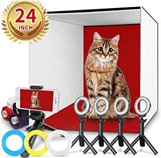 FOSITAN Photo Studio Box, 24x24 inches Table Top Photo Light Box Continous Lighting Kit with 5 Tripods, 4 LED Ring Lights, 4 Color Backdrops & a Cell Phone Holder for Photography