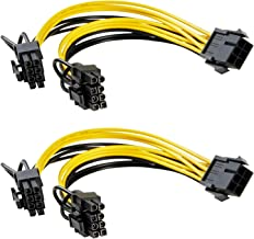 Dr.meter 6 pin to 2X PCIe 8(6+2) Pin Graphics Card PCI-e Express VGA Splitter Power Supply Cable (2 Packs)-8 Inches