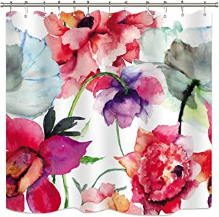 Riyidecor Watercolor Floral Shower Curtain Colorful Flower Peony Red White Decor Fabric Panel Bathroom Set 72x78 Inch with 12 Pack Plastic Shower Hooks
