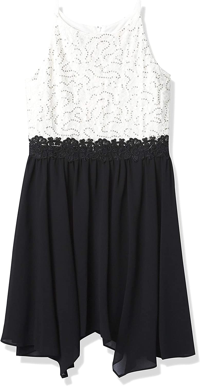 Amy Byer Girls' Sleeveless Fit and Flare Hanky Hem Dress