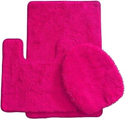 Daniel's Bath Daniel's Bath & Beyond 3 Piece Solid Luxury Bath Mat, Hot Pink, 3 Count