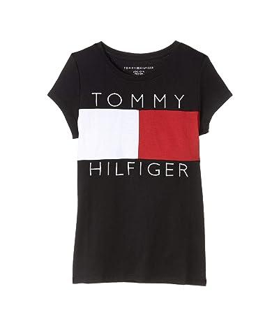 Tommy Hilfiger Kids Pieced Short Sleeve Flag Tee (Big Kids) (Moonless Night) Girl