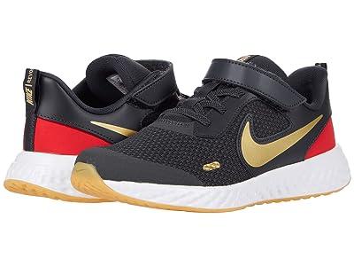 Nike Kids Revolution 5 (Little Kid) (Dark Smoke Grey/Metallic Gold) Boys Shoes