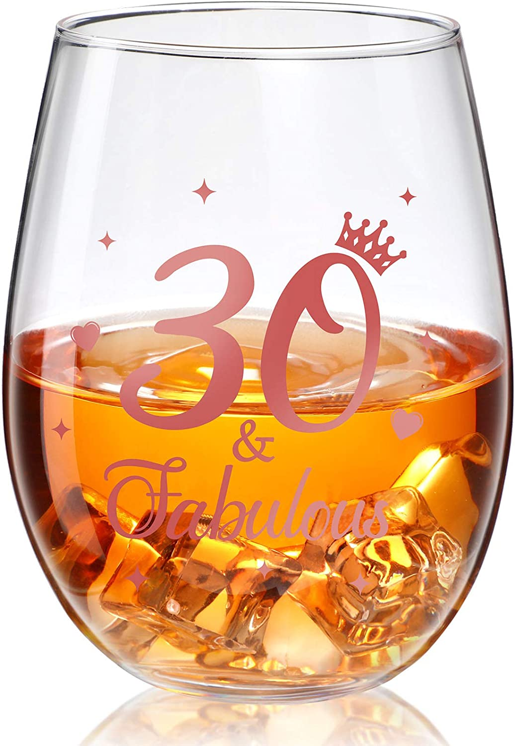 Stemless Wine Glass Rose OFFer Birthday Gold Annive Clearance SALE Limited time Present
