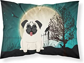 Caroline's Treasures BB2194PILLOWCASE Halloween Scary Pug Cream Fabric Pillowcase, Standard, Multicolor