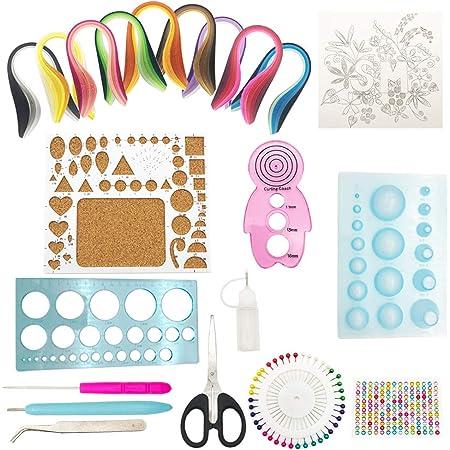 20 Piezas Herramientas de Filigranas de Papel de Tiras con 900 Tiras de Papel de 40 colores de 5x390mm manualidades de papel DIY para arte quilling 29 Pcs Quilling kit