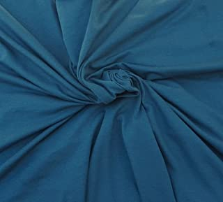 Blue Organic Cotton Spandex Fabric Eco Friendly Jersey Knit By Yard 4/16