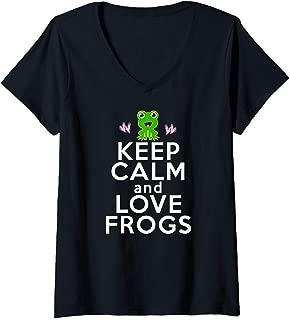 Womens KEEP CALM LOVE FROGS Toads Girls Boys Kids Toddler Cute Gift V-Neck T-Shirt