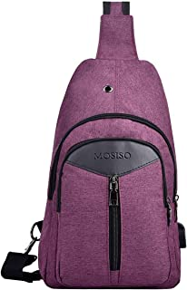 MOSISO Sling Backpack with USB Port, Polyester Travel Daypack Durable Chest Shoulder Unbalance Gym Fanny Crossbody Sack Satchel Outdoor Hiking Bag for Men Women Girls Boys, Purple
