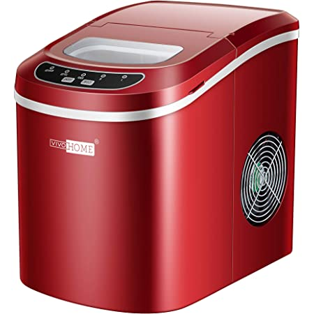 VIVOHOME Electric Portable Compact Countertop Automatic Ice Cube Maker Machine 26lbs/day Red